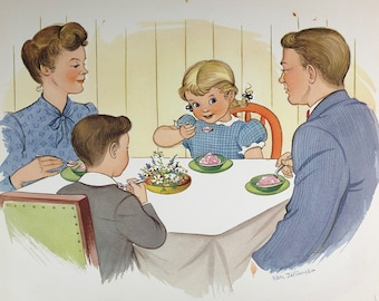 1947 - Original vintage National Dairy Council poster - Retro advertising - Family at table print - Made in USA
