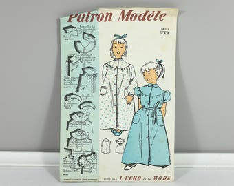 1950 Vintage french sewing pattern Toddler Size 2 to 4 girl's dressing gown by Les Patrons Modèle from Échos de la Mode