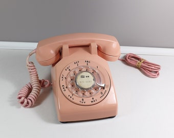 Vintage 1960s Western Electric Pink Rotary Telephone - Retro pink rotary telephone - Vintage pink phone - Pink Bell System phone.