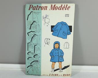 1950 Vintage french sewing pattern Toddler Size 1 to 2 boy's and girl's coat by Les Patrons Modèle from Échos de la Mode