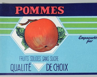 Vintage Canadian apples can label - French and english can label - Retro can label - Vintage label - Retro label