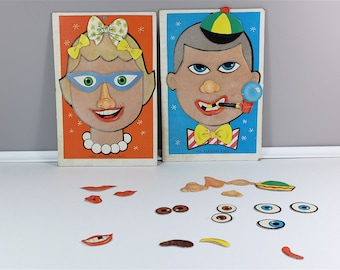 Vintage 1960 Saalfield Artcraft Mr. and Mrs. Flannel Face Kids Game -  Felt Boards And Pieces Funny Faces Game Toy