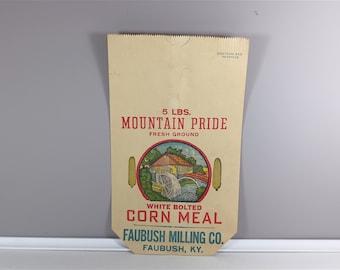 Vintage corn meal sack - Retro Mountain Pride corn meal paper bag - vintage advertising - vintage kitchen decor - vintage flour bag