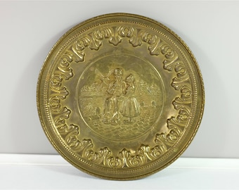 Georgous Lombard C&A Ltd. England hammered brass wall plate  - Made in England - grandfather and granddaughter