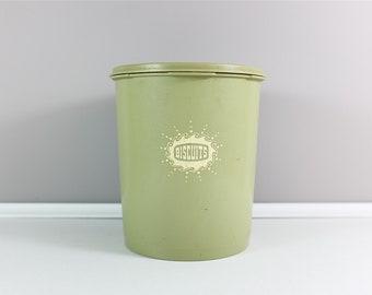 Avocado green vintage Tupperware Servalier cookie canister with lid - Retro Tupperware - Kaki green Servalier Tupperware
