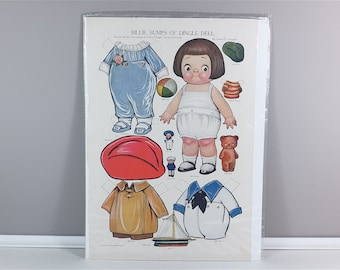 1900' - Original vintage US poster - Billie Bumps Of Dingle Dell - dress up doll - Printed in USA - Paper doll to dress
