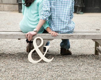 """16"""" Ampersand Photo Prop Wooden Wedding Sign for Photos - Custom made- Unpainted"""