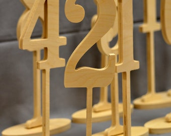DIY Wedding Table Number Kit - Wood wooden Numbers - Craft- FREESTANDING numbers 1-10