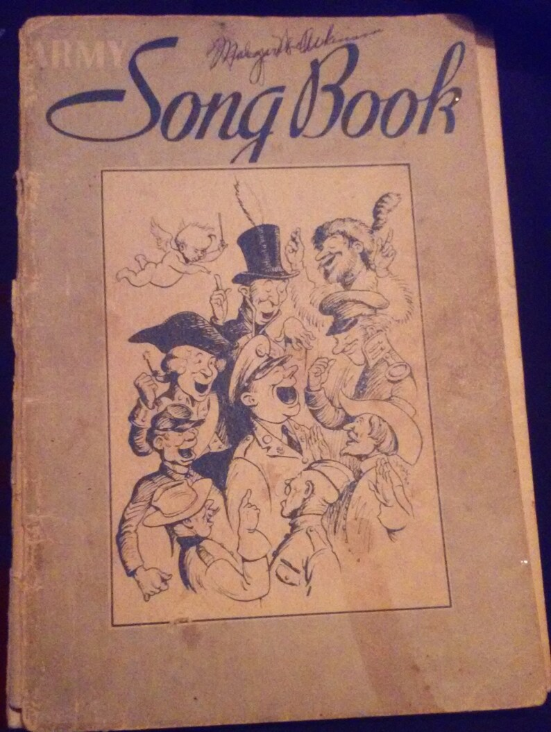 Antique WWI Army Song Book Vintage Music Paperback 1918 Hail Mack Co 78  Pages Guitar Keys Ukulele Military Militaria Songs Melody Notes