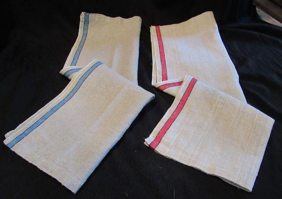 Vintage Kitchen Towels Natural Linen Set Of 2 Border Stripe | Etsy