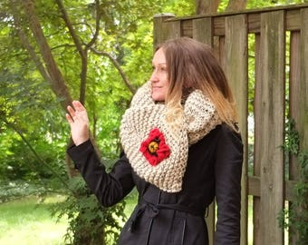PATTERN For Chunky Scarf With Poppy Flower.