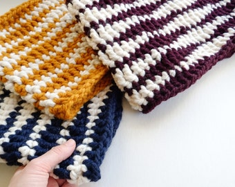 Chevron Chunky Scarf Cowl / Unisex Handmade Stripe Neck Warmer Made To Order / Choose From 4 Colors