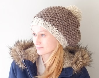 PATTERN Knit Beanie Hat Chunky Pom Pom Hat / Pattern PDF - Instant Download / Detailed Instructions In English