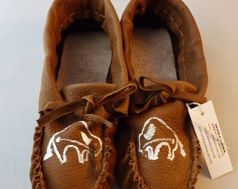 Adult leather moccasins men's size 10-11, heavy buffalo hide, regalia, house shoe, dance shoe, moccasin, fringed moccasin