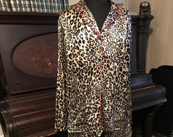 Victoria's Secret Animal Print Satin Pajamas/Leopard/Pants and Top/Menswear Style/Large/1990s