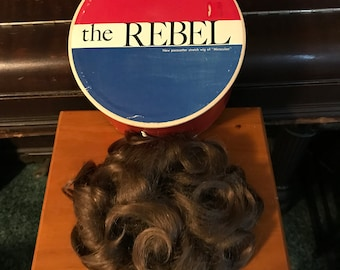 Vintage Hairpiece Original Box Light Ash Brown Curly Wiglet Human Hair Made in Korea 1960s The Rebel Madmen Costume