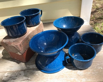 Metal Enamelware Bowls & Cups/Set of 4 each/Blue Speckled/Graniteware/Camping/Cabin/Country Kitchen/1960s 70s/lightly distressed/Campout