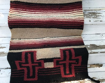 Vintage Wool Double Horse Saddle Blanket/Southwest/Hand Woven/30 x 62 inches/Cabin/Mountain Lodge/Rug/Runner/Wall Hanging/Horseback Riding