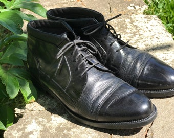 Johnston & Murphy Shoes Boots/Black Deerskin Leather/Mens Size 10M/Made in Italy/Nonskid Soles/Dress Shoes/Hipster Wedding
