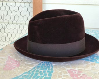 Borsalino Fedora Hat/1950s 60s/Felt Fur/Dark Chocolate Brown/Size Small 6 7/8/Marque Grand Luxe/Rounded Snap Brim/Made in Italy/Unisex