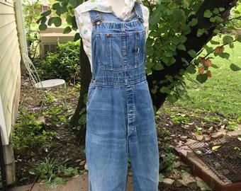 Vintage Big Mac Denim Overalls/Frayed Faded Distressed/Square Bak/Union Made/1960s 70s/Short wide legs/Mechanic/Farmer/Work Wear/Unisex