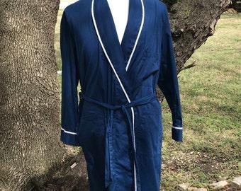 70s House Coat Housecoat Vintage Sears Lingerie Asian Influence Robe Navy White Sz L