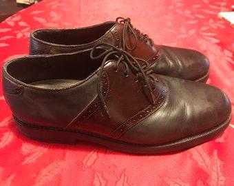 e2c6b915f8 Vintage Saddle Shoes Two Tone Brown Nunn Bush Leather Mens Size  10W oxfords Lace Up 1980s 1990s