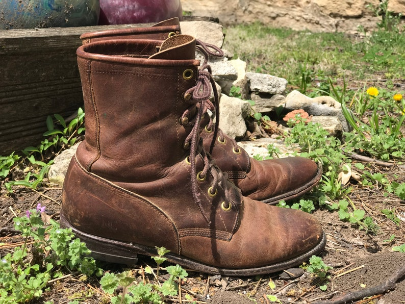 6219d049ee6 Vintage Justin Roper  Boots/Distressed/Ankle/Leather/Worn/Cowgirl/Granny/Kilties/Authentic/Womens  Size 7/Made in USA/Western Wear