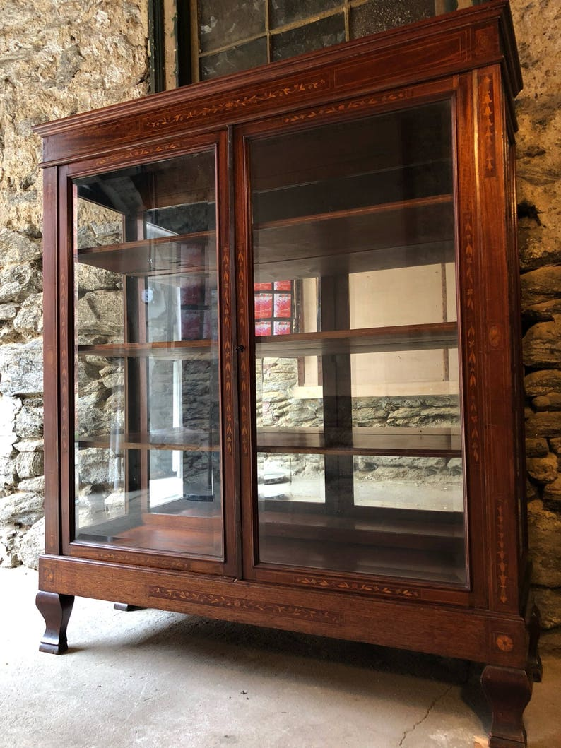 Attrayant Antique Fench Glass China Cabinet Antique Glass Bookshelf French Antique  Curio Cabinet