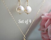 Set of 4 Four Bridesmaid jewelry set gold filled necklace earrings Wedding jewelry Bridesmaid bridal party gift Delicate jewelry coin pearls