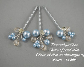 a13046d4f Bridal Bobby Pins, Silver clip, Ivory Champagne hair clips, Wedding  Accessories, Pearl crystals hair clips, Blue hair clips, Set of 3 clips