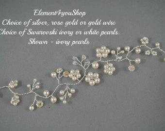 BRIDAL HAIR VINES Wedding hair vines, Delicate pearls crystals rhinestones vines, Silver rose gold wire, Handmade flower cluster Unique