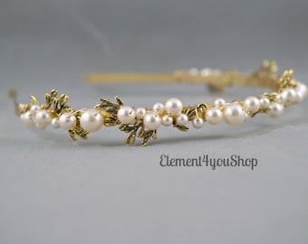 Bridal Headband Hair Band, Pearls Gold branch Hair Piece, Ivory Cream White Pearls, Wedding Gold headband, Head piece, Hair Accessory Gift