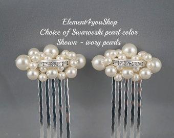 SET OF 2  Bridal hair combs, Bridal hair accessory, Wedding headpiece, Wedding hair piece, Pearls cluster combs, Rhinestone hair combs