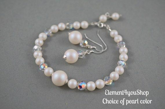 wedding gift Bridesmaid jewelry set bridesmaid necklace bridal party pearl necklace bracelet bridesmaid gift bridesmaid bracelet