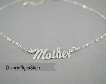 Sterling silver mother necklace, Mother charm jewelry, Mother's day gift, Mom Mama necklace, Family necklace,