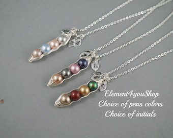 PEA - Sweet pea in pod necklace 1 2 3 4 5 initial leaf charms Swarovski pearls birthstone Best Friend Sister Mother's Day gift Wire wrapped