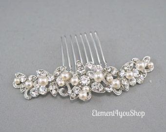 CLARA - Bridal rhinestone comb, Wedding hair comb, Wedding hair piece, Bride hair comb, Wedding head piece, Hair do, Ivory white pearl comb