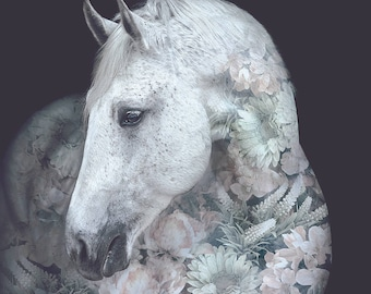 Andalusian Horse Flower Portrait – Faunascapes Art Print by WhatWeDo