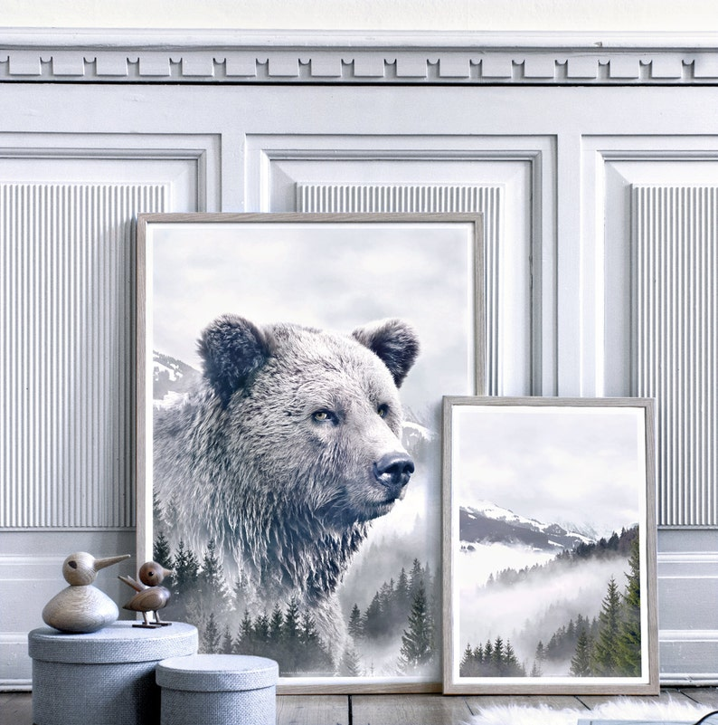 5f517031dda Ours brun Portrait Animal Double exposition reproduction