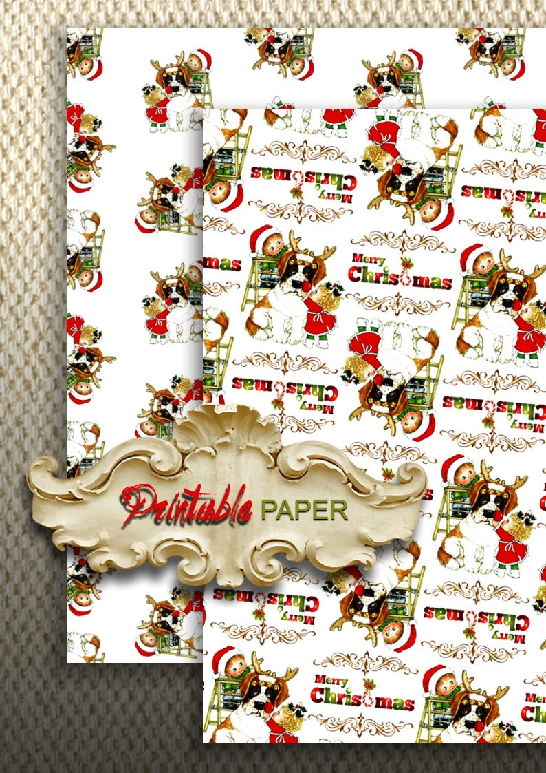 christmas dog 2 sheets printable wrapping paper for | etsy