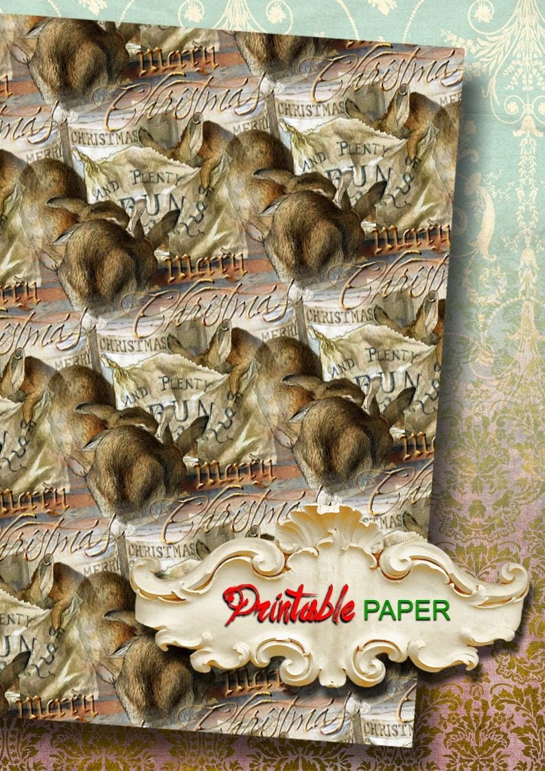 Creat Download and Print CHRISTMAS RABBITs Printable wrapping paper for Scrapbooking