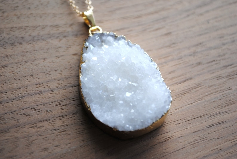 Long Druzy Necklace  White Druse Crystal with Gold Edge on image 0