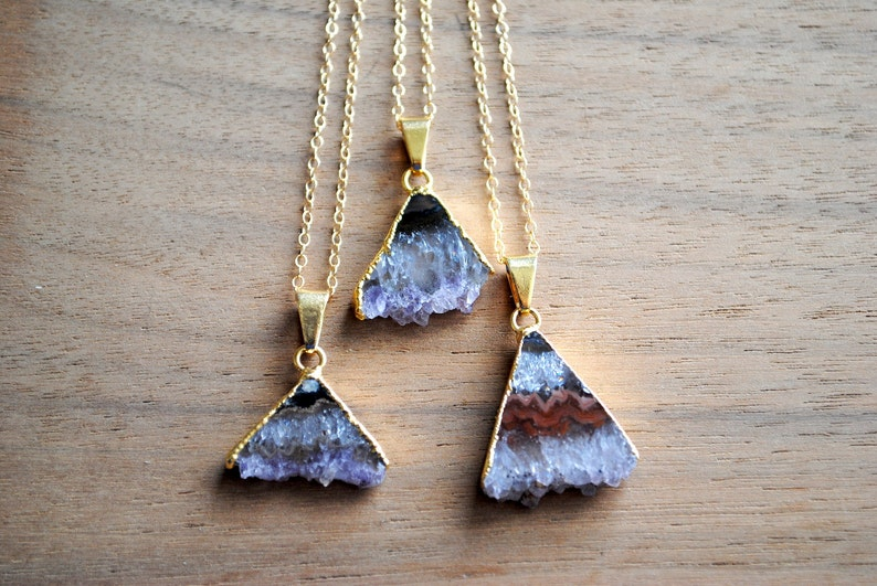 Amethyst Triangle Slice Necklace. Raw Gemstone Pendant. Gold image 0