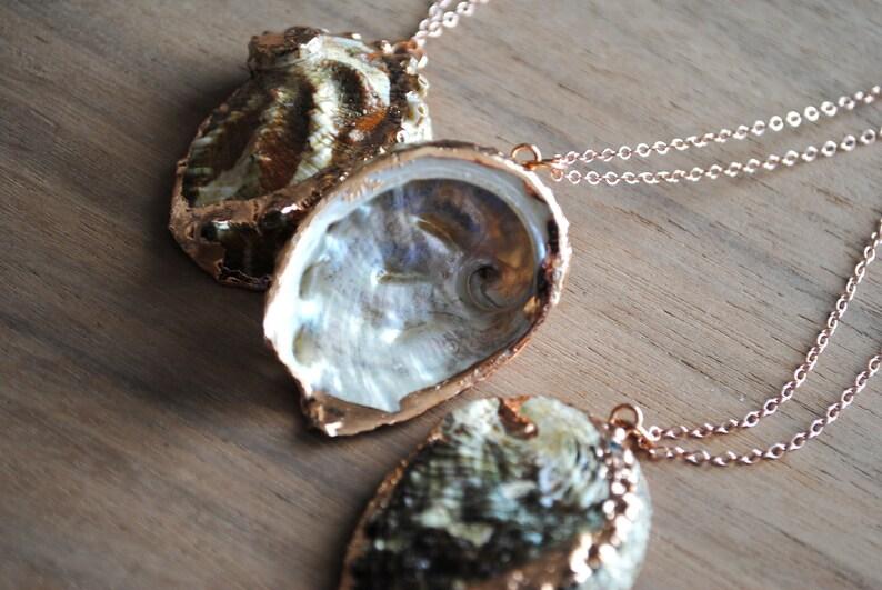 Rose Gold Abalone Necklace. Rose Gold Shell Necklace. Rose image 0