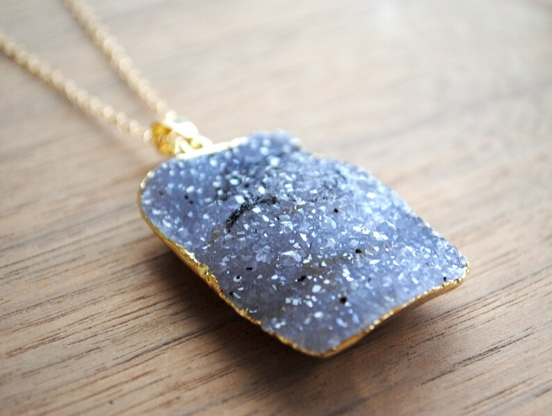 Raw Druzy Necklace  Gold Edge on 30 14k Delicate Gold image 0