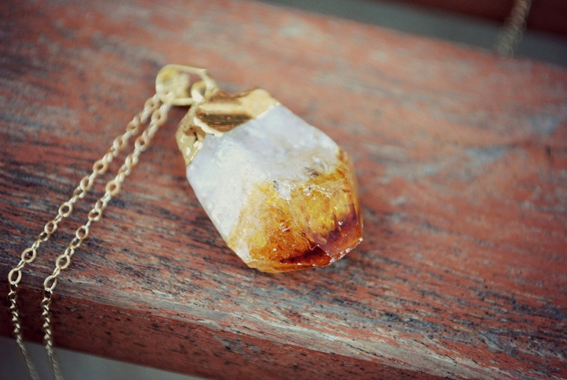 Raw Citrine Gemstone Point Pendant  Gold Plated on 18 image 0