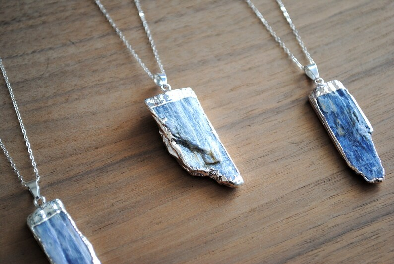 Kyanite Necklace Silver Plated Blue Kyanite with 18 image 0