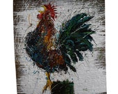 Rooster Painting — Hand Painted Original Art — One of a Kind Artwork Created on Reclaimed Barnwood — Signed by the Artist: Michael Glass