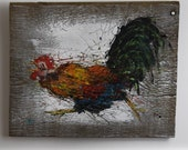 Running Rooster. Hand painted on reclaimed barnwood